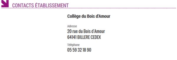 Renseignements pratiques ~ College Bois D Amour Billere